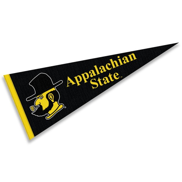 App State Mountaineers Yosef Pennant consists of our full size sports pennant which measures 12x30 inches, is constructed of felt, is single sided imprinted, and offers a pennant sleeve for insertion of a pennant stick, if desired. This App State Mountaineers Pennant Decorations is Officially Licensed by the selected university and the NCAA.