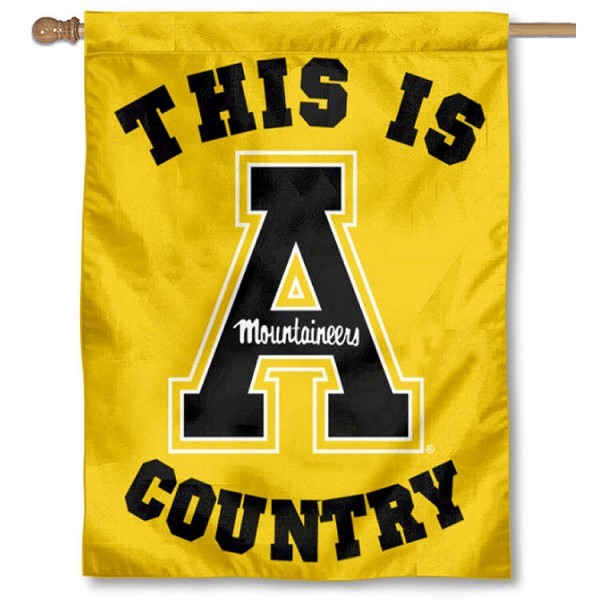 App State This is Mountaineers Country House Flag is a vertical house flag which measures 30x40 inches, is made of 2 ply 100% polyester, offers screen printed NCAA team insignias, and has a top pole sleeve to hang vertically. Our App State This is Mountaineers Country House Flag is officially licensed by the selected university and the NCAA.
