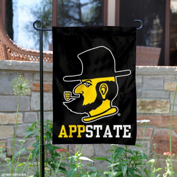 App State Yosef Mascot Logo Garden Flag is 13x18 inches in size, is made of 2-layer polyester, screen printed App State Yosef Mascot Logo University athletic logos and lettering. Available with Same Day Express Shipping, Our App State Yosef Mascot Logo Garden Flag is officially licensed and approved by App State Yosef Mascot Logo University and the NCAA.