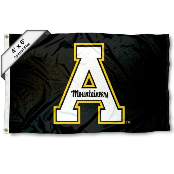 Appalachian State Large 4x6 Flag measures 4x6 feet, is made thick woven polyester, has quadruple stitched flyends, two metal grommets, and offers screen printed NCAA Appalachian State Large athletic logos and insignias. Our Appalachian State Large 4x6 Flag is officially licensed by Appalachian State and the NCAA.