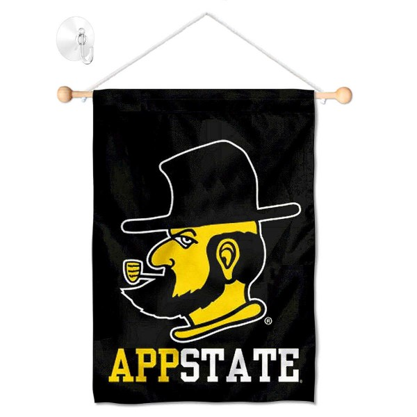 "Appalachian State Mountaineers Banner with Suction Cup kit includes our 13""x18"" garden banner which is made of 2 ply poly with liner and has screen printed licensed logos. Also, a 17"" wide banner pole with suction cup is included so your Appalachian State Mountaineers Banner with Suction Cup is ready to be displayed with no tools needed for setup. Fast Overnight Shipping is offered and the flag is Officially Licensed and Approved by the selected team."