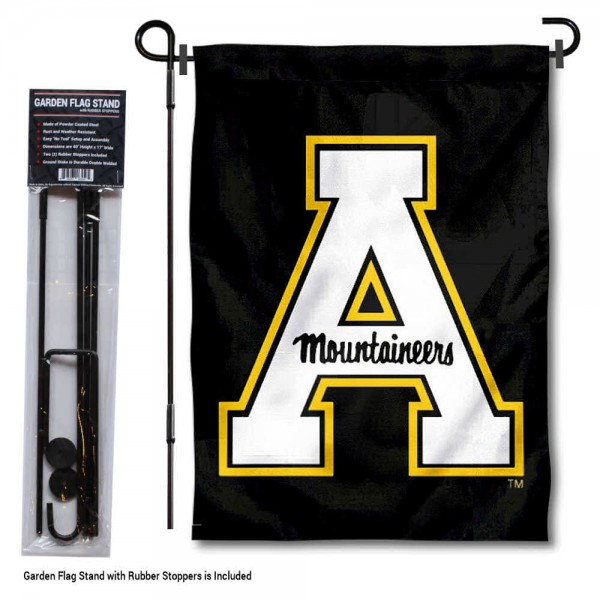 "Appalachian State Mountaineers Black Garden Flag and Pole Stand Mount kit includes our 13""x18"" garden banner which is made of 2 ply poly with liner and has screen printed licensed logos. Also, a 40""x17"" inch garden flag stand is included so your Appalachian State Mountaineers Black Garden Flag and Pole Stand Mount is ready to be displayed with no tools needed for setup. Fast Overnight Shipping is offered and the flag is Officially Licensed and Approved by the selected team."