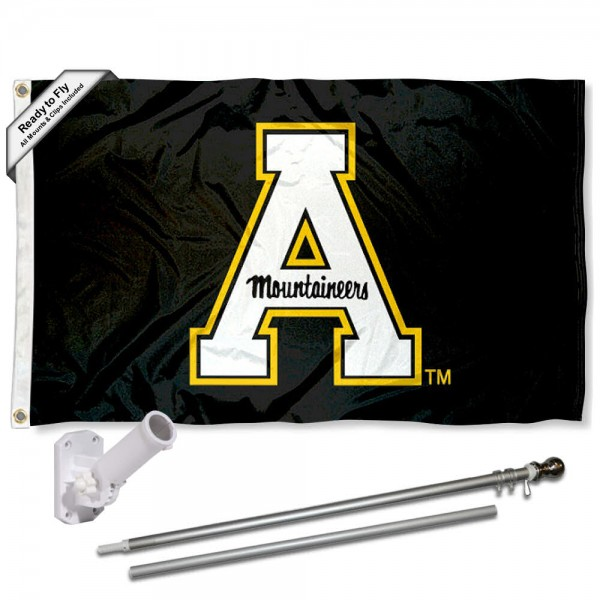 Our Appalachian State Mountaineers Flag Pole and Bracket Kit includes the flag as shown and the recommended flagpole and flag bracket. The flag is made of polyester, has quad-stitched flyends, and the NCAA Licensed team logos are double sided screen printed. The flagpole and bracket are made of rust proof aluminum and includes all hardware so this kit is ready to install and fly.
