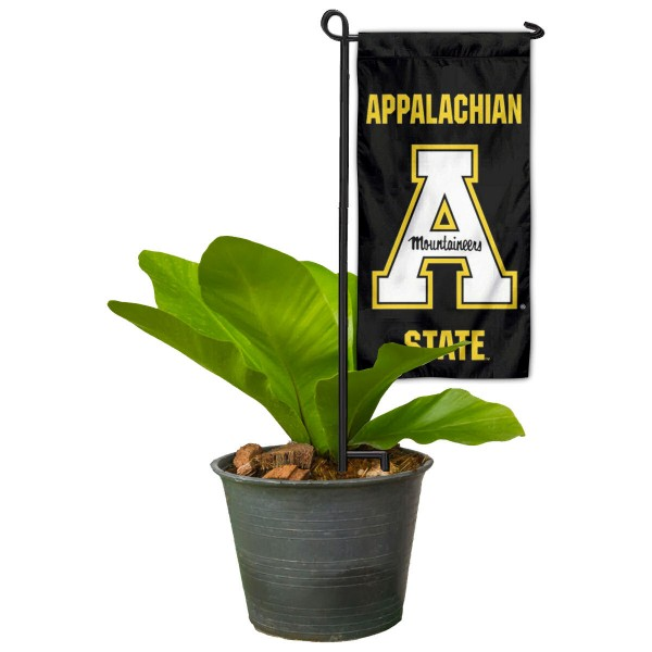 "Appalachian State Mountaineers Flower Pot Topper Flag kit includes our 4""x8"" mini garden banner and 6"" x 14"" mini garden banner stand. The mini flag is made of 1-ply polyester, has screen printed logos and the garden stand is made of steel and powder coated black. This kit is NCAA Officially Licensed by the selected college or university."