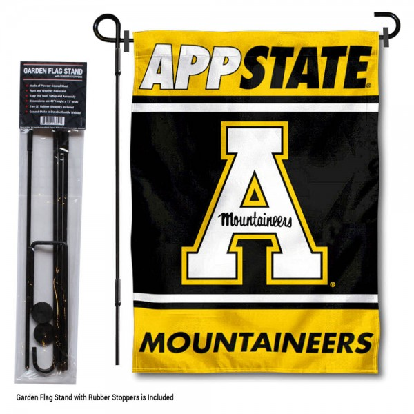 "Appalachian State Mountaineers Garden Flag and Pole Stand Holder kit includes our 13""x18"" garden banner which is made of 2 ply poly with liner and has screen printed licensed logos. Also, a 40""x17"" inch garden flag stand is included so your Appalachian State Mountaineers Garden Flag and Pole Stand Holder is ready to be displayed with no tools needed for setup. Fast Overnight Shipping is offered and the flag is Officially Licensed and Approved by the selected team."