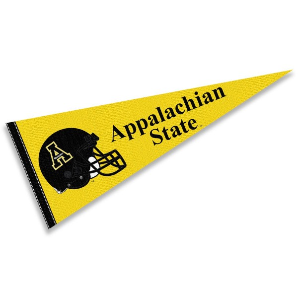Appalachian State Mountaineers Helmet Pennant consists of our full size sports pennant which measures 12x30 inches, is constructed of felt, is single sided imprinted, and offers a pennant sleeve for insertion of a pennant stick, if desired. This Appalachian State Mountaineers Pennant Decorations is Officially Licensed by the selected university and the NCAA.