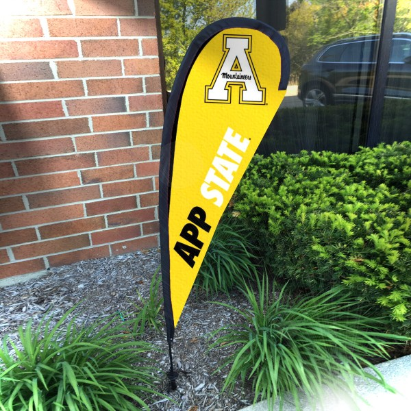 Appalachian State Mountaineers Small Feather Flag measures a 4' tall when fully assembled and roughly 1' wide. The kit includes a Feather Flag, 2 Piece Fiberglass Pole, pole connector, and matching Ground Stake. Our Appalachian State Mountaineers Small Feather Flag easily assembles and is NCAA Officially Licensed by the selected school or university.