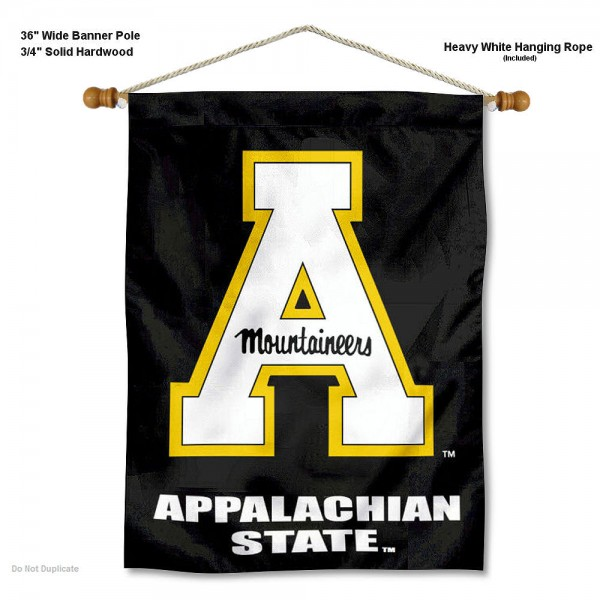"Appalachian State Mountaineers Wall Banner is constructed of polyester material, measures a large 30""x40"", offers screen printed athletic logos, and includes a sturdy 3/4"" diameter and 36"" wide banner pole and hanging cord. Our Appalachian State Mountaineers Wall Banner is Officially Licensed by the selected college and NCAA."