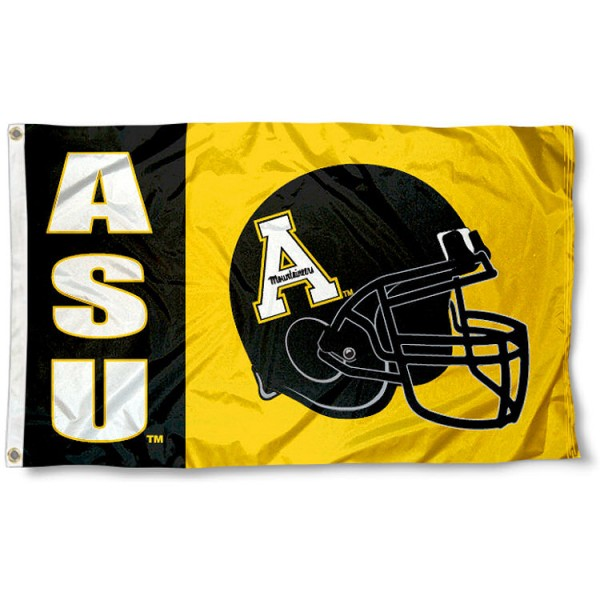Appalachian State University Football Flag measures 3'x5', is made of 100% poly, has quadruple stitched sewing, two metal grommets, and has double sided Appalachian State University logos. Our Appalachian State University Football Flag is officially licensed by the selected university and the NCAA.