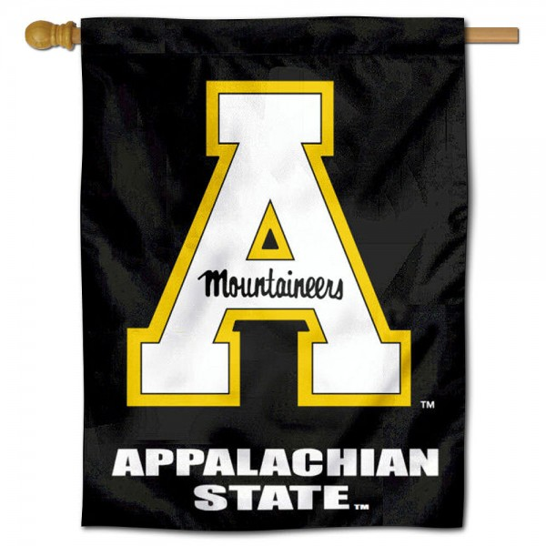 "Appalachian State University House Flag is constructed of polyester material, is a vertical house flag, measures 30""x40"", offers screen printed athletic insignias, and has a top pole sleeve to hang vertically. Our Appalachian State University House Flag is Officially Licensed by Appalachian State University and NCAA."