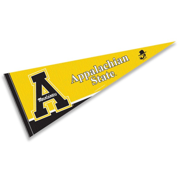 Appalachian State University Pennant consists of our full size pennant which measures 12x30 inches, is constructed of felt, is single sided imprinted, and offers a pennant sleeve for insertion of a pennant stick, if desired. This App State Pennant Decorations is officially licensed by the selected university and the NCAA.