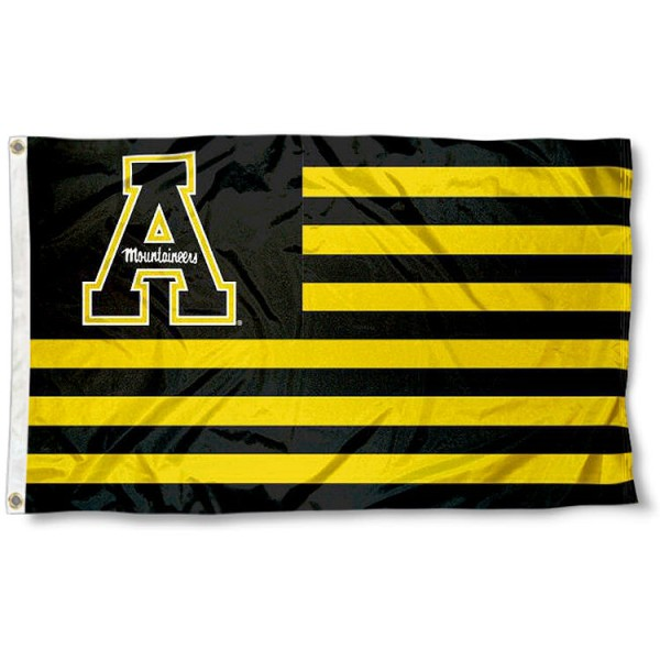 Appalachian State University Striped Flag measures 3'x5', is made of polyester, offers double stitched flyends for durability, has two metal grommets, and is viewable from both sides with a reverse image on the opposite side. Our Appalachian State University Striped Flag is officially licensed by the selected school university and the NCAA.