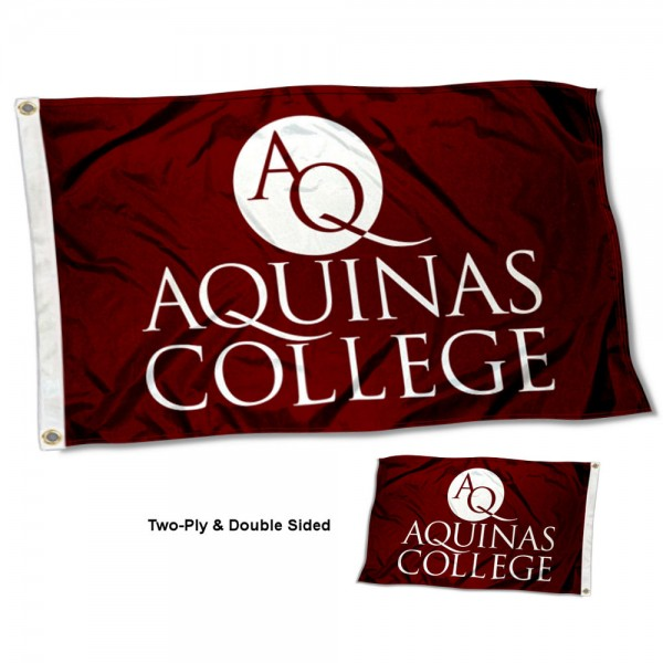 Aquinas College Double Sided Flag measures 3'x5', is made of 2 layer 100% polyester, has quadruple stitched flyends for durability, and is readable correctly on both sides. Our Aquinas College Double Sided Flag is officially licensed by the university, school, and the NCAA.