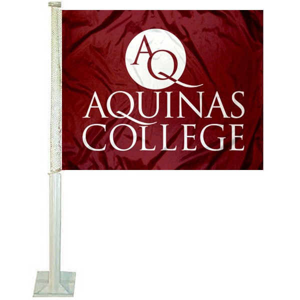 Aquinas College Logo Car Flag measures 12x15 inches, is constructed of sturdy 2 ply polyester, and has screen printed school logos which are readable and viewable correctly on both sides. Aquinas College Logo Car Flag is officially licensed by the NCAA and selected university.