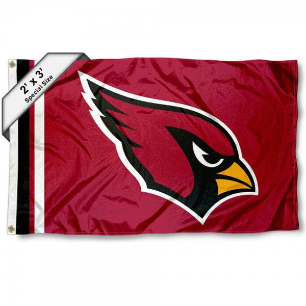 Arizona Cardinals 2x3 Feet Flag measures 2'x3', is made polyester, has quadruple stitched flyends, two metal grommets, and offers screen printed NFL Arizona Cardinals logos and insignias. Our Arizona Cardinals 2x3 Foot Flag is NFL Officially Licensed and approved.