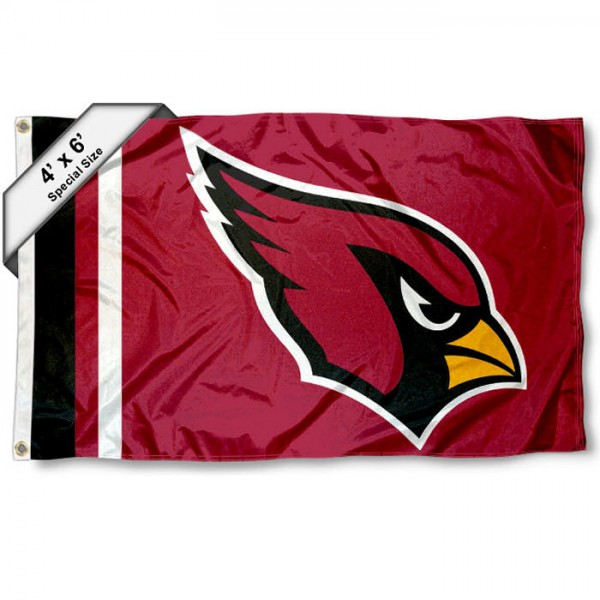 Arizona Cardinals 4x6 Flag measures a large 4x6 feet, is made polyester, has quadruple stitched flyends, two metal grommets, and offers screen printed NFL Arizona Cardinals logos and insignias. Our Arizona Cardinals 4x6 Foot Flag is NFL Officially Licensed and Arizona Cardinals approved.