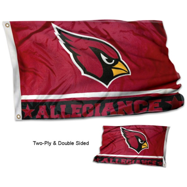 Arizona Cardinals Allegiance Flag measures 3'x5', is made of 2-ply double sided polyester with liner, has quadruple stitched sewing, two metal grommets, and has two sided team logos. Our Arizona Cardinals Allegiance Flag is officially licensed by the selected team and the NFL and is available with overnight express shipping.