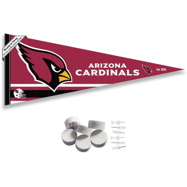 This Arizona Cardinals Banner Pennant with Tack Wall Pads is 12x30 inches, is made of premium felt blends, has a pennant stick sleeve, and the team logos are single sided screen printed. Our Arizona Cardinals Banner Pennant Flag is NFL Officially Licensed and include our 6 pack of wall adhesive pads and tacks.