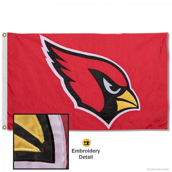 This Arizona Cardinals Embroidered Nylon Flag is double sided, made of nylon, 3'x5', has two metal grommets, indoor or outdoor, and four-stitched fly ends. These Arizona Cardinals Embroidered Nylon Flags are Officially Approved the Arizona Cardinals and NFL.