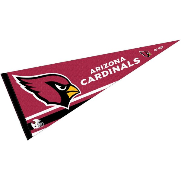 This Arizona Cardinals Full Size Pennant is 12x30 inches, is made of premium felt blends, has a pennant stick sleeve, and the team logos are single sided screen printed. Our Arizona Cardinals Full Size Pennant is NFL Officially Licensed.