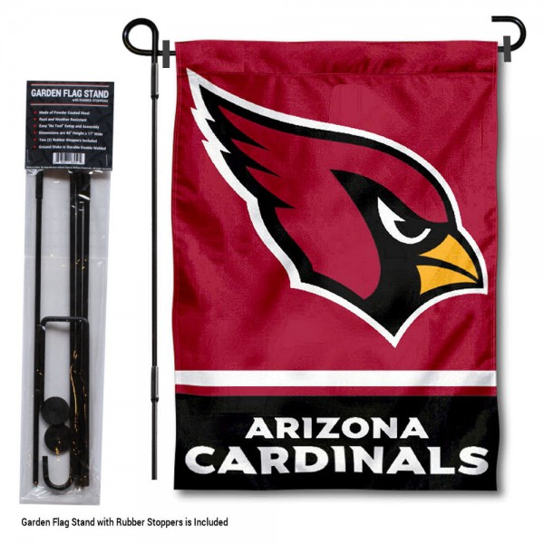 "Arizona Cardinals Garden Flag and Stand kit includes our 13""x18"" garden banner which is made of 2 ply poly with liner and has screen printed licensed logos. Also, a 40""x17"" inch garden flag stand is included so your Arizona Cardinals Garden Flag and Stand is ready to be displayed with no tools needed for setup. Fast Overnight Shipping is offered and the flag is Officially Licensed and Approved by the selected team."