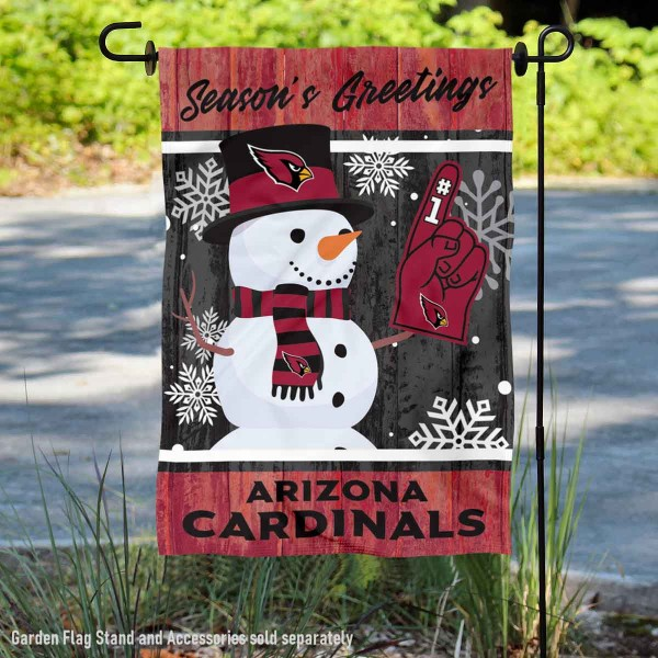 Arizona Cardinals Holiday Winter Snow Double Sided Garden Flag is 12.5x18 inches in size, is made of 2-ply polyester, and has two sided screen printed logos and lettering. Available with Express Next Day Ship, our Arizona Cardinals Holiday Winter Snow Double Sided Garden Flag is NFL Officially Licensed and is double sided.