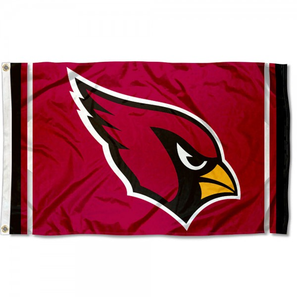 Our Arizona Cardinals Logo Flag is double sided, made of poly, 3'x5', has two metal grommets, indoor or outdoor, and four-stitched fly ends. These Arizona Cardinals Logo Flags are Officially Licensed by the NFL.