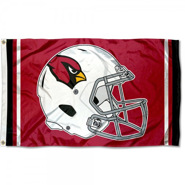 Our Arizona Cardinals New Helmet Flag is two sided, made of poly, 3'x5', Overnight Shipping, has two metal grommets, indoor or outdoor, and four-stitched fly ends. These Arizona Cardinals New Helmet Flags are Officially Approved by the Arizona Cardinals.