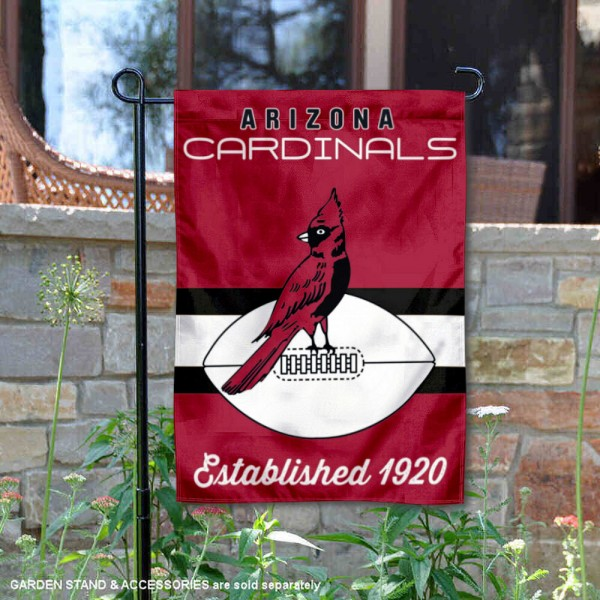 Arizona Cardinals Throwback Logo Double Sided Garden Flag Flag is 12.5x18 inches in size, is made of 2-ply polyester, and has two sided screen printed logos and lettering. Available with Express Next Day Ship, our Arizona Cardinals Throwback Logo Double Sided Garden Flag Flag is NFL Officially Licensed and is double sided.