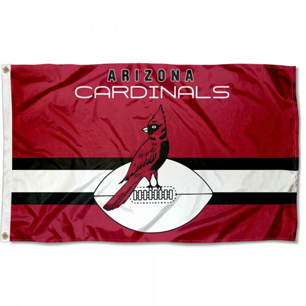 Our Arizona Cardinals Throwback Retro Vintage Logo Flag is double sided, made of poly, 3'x5', has two metal grommets, indoor or outdoor, and four-stitched fly ends. These Arizona Cardinals Throwback Retro Vintage Logo Flags are Officially Approved by the Arizona Cardinals.