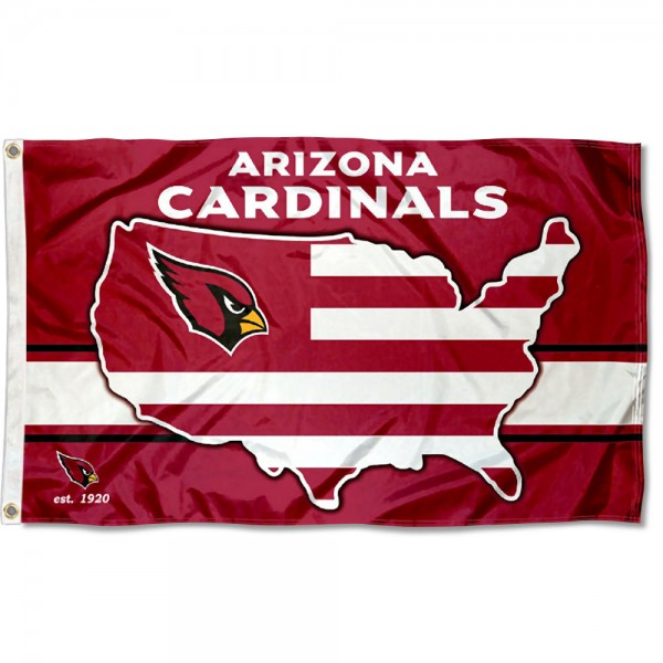 Our Arizona Cardinals USA Country Flag is double sided, made of poly, 3'x5', has two metal grommets, indoor or outdoor, and four-stitched fly ends. These Arizona Cardinals USA Country Flags are Officially Approved by the Arizona Cardinals.