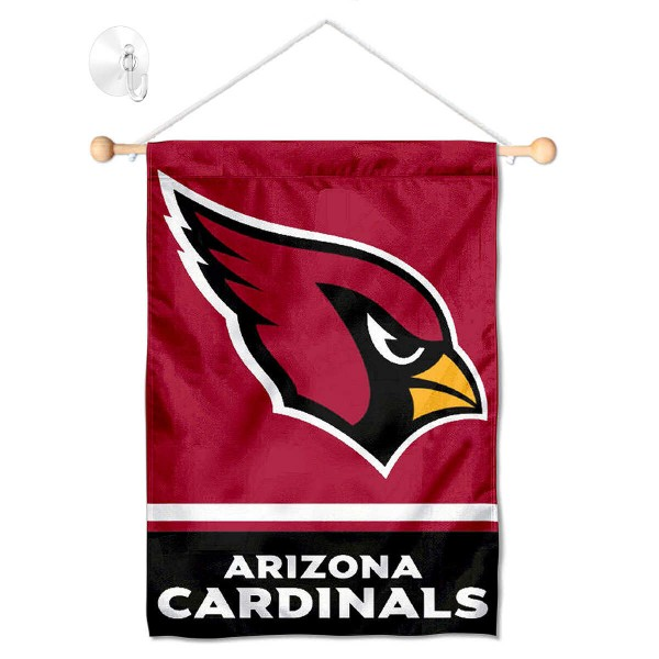 "Arizona Cardinals Window and Wall Banner kit includes our 12.5""x18"" garden banner which is made of 2 ply poly with liner and has screen printed licensed logos. Also, a 17"" wide banner pole with suction cup is included so your Arizona Cardinals Window and Wall Banner is ready to be displayed with no tools needed for setup. Fast Overnight Shipping is offered and the flag is Officially Licensed and Approved by the selected team."