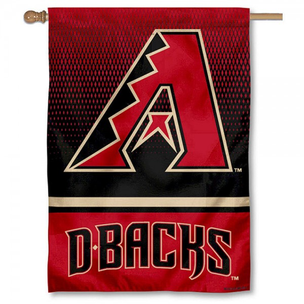 Arizona Diamondbacks Double Sided House Flag is screen printed with Arizona Diamondbacks logos, is made of 2-ply 100% polyester, and is two sided and double sided. Our banners measure 28x40 inches and hang vertically with a top pole sleeve to insert your banner pole or flagpole.