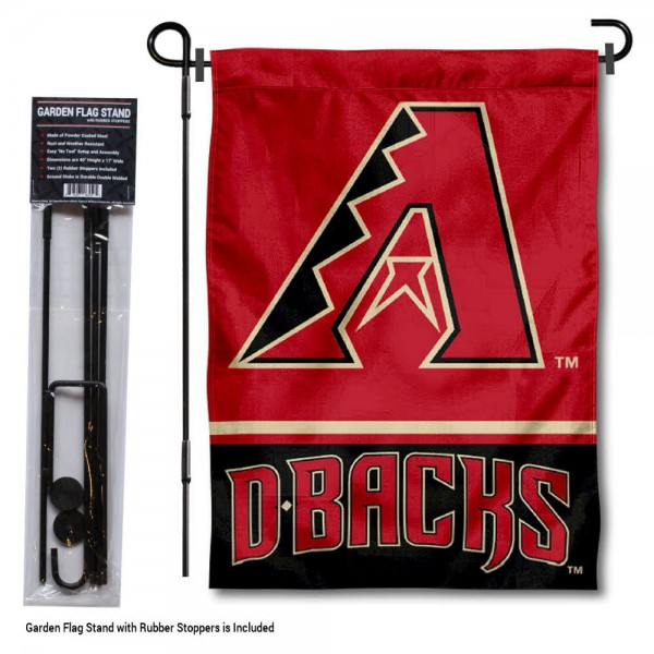 "Arizona Diamondbacks Logo Garden Flag and Stand kit includes our 13""x18"" garden banner which is made of 2 ply poly with liner and has screen printed licensed logos. Also, a 40""x17"" inch garden flag stand is included so your Arizona Diamondbacks Logo Garden Flag and Stand is ready to be displayed with no tools needed for setup. Fast Overnight Shipping is offered and the flag is Officially Licensed and Approved by the selected team."