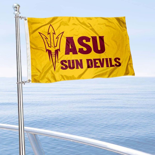 Arizona State Sun Devils Boat and Mini Flag is 12x18 inches, polyester, offers quadruple stitched flyends for durability, has two metal grommets, and is double sided. Our mini flags for Arizona State Sun Devils are licensed by the university and NCAA and can be used as a boat flag, motorcycle flag, golf cart flag, or ATV flag.