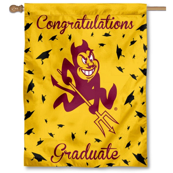 Arizona State Sun Devils Congratulations Graduate Flag measures 30x40 inches, is made of poly, has a top hanging sleeve, and offers dye sublimated Arizona State Sun Devils logos. This Decorative Arizona State Sun Devils Congratulations Graduate House Flag is officially licensed by the NCAA.