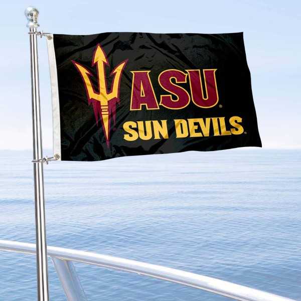 Arizona State Sun Devils Double Sided Boat Flag is 12x18 inches, nylon, offers quadruple stitched flyends for durability, has two metal grommets, and is double sided. Our mini flags for Arizona State Sun Devils are licensed by the university and NCAA and can be used as a boat flag, motorcycle flag, golf cart flag, or ATV flag.