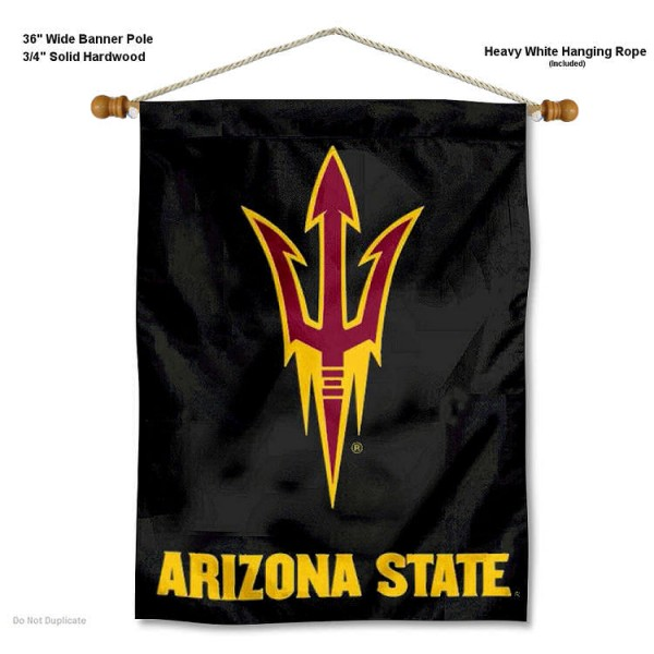 "Arizona State Sun Devils Fork Wall Banner is constructed of polyester material, measures a large 30""x40"", offers screen printed athletic logos, and includes a sturdy 3/4"" diameter and 36"" wide banner pole and hanging cord. Our Arizona State Sun Devils Fork Wall Banner is Officially Licensed by the selected college and NCAA."