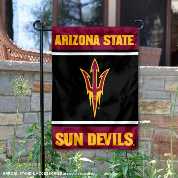 Arizona State Sun Devils Garden Flag is 13x18 inches in size, is made of 2-layer polyester, screen printed logos and lettering. Available with Same Day Express Shipping, Our Arizona State Sun Devils Garden Flag is officially licensed and approved by the NCAA.