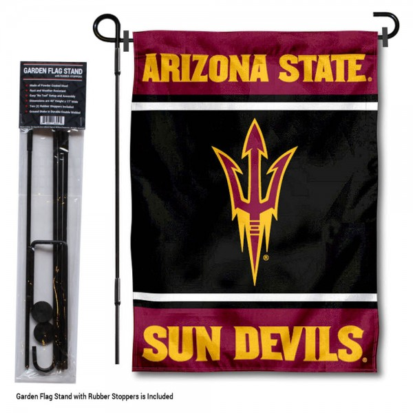 "Arizona State Sun Devils Garden Flag and Pole Stand Holder kit includes our 13""x18"" garden banner which is made of 2 ply poly with liner and has screen printed licensed logos. Also, a 40""x17"" inch garden flag stand is included so your Arizona State Sun Devils Garden Flag and Pole Stand Holder is ready to be displayed with no tools needed for setup. Fast Overnight Shipping is offered and the flag is Officially Licensed and Approved by the selected team."