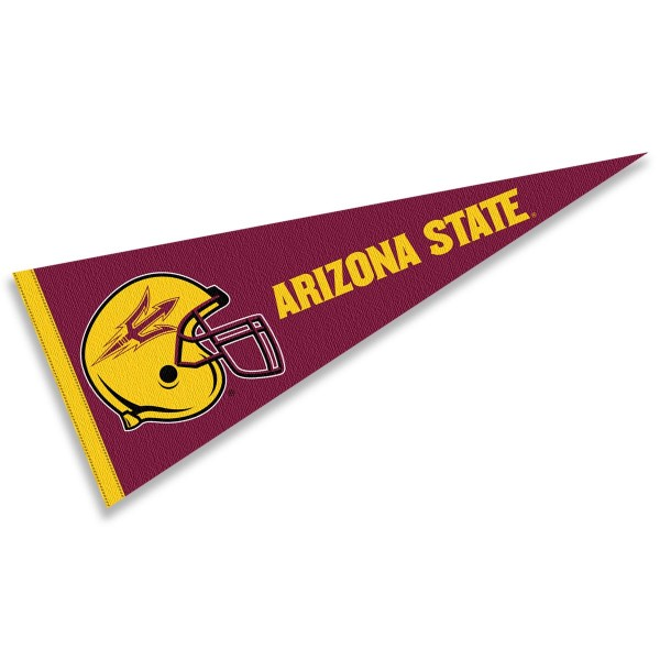 Arizona State Sun Devils Helmet Pennant consists of our full size sports pennant which measures 12x30 inches, is constructed of felt, is single sided imprinted, and offers a pennant sleeve for insertion of a pennant stick, if desired. This Arizona State Sun Devils Pennant Decorations is Officially Licensed by the selected university and the NCAA.