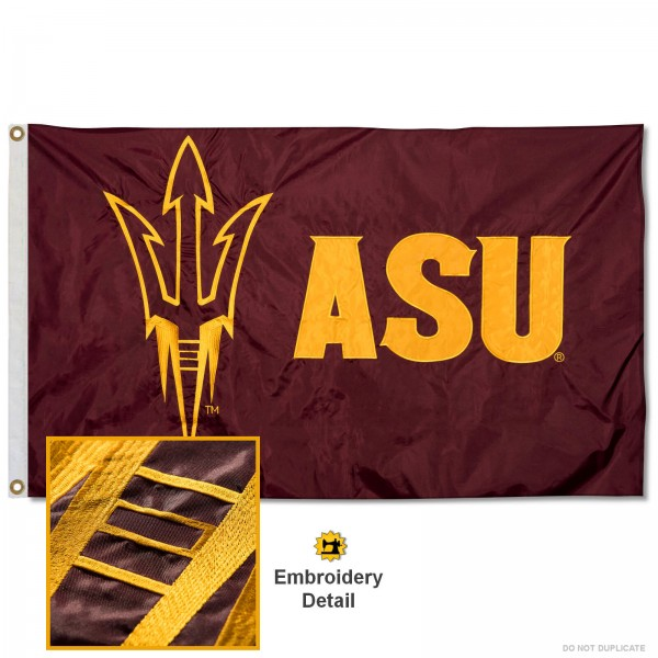 Arizona State Sun Devils Nylon Embroidered Flag measures 3'x5', is made of 100% nylon, has quadruple flyends, two metal grommets, and has double sided appliqued and embroidered University logos. These Arizona State Sun Devils 3x5 Flags are officially licensed by the selected university and the NCAA.