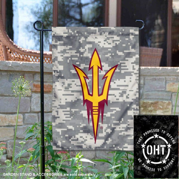 Arizona State Sun Devils Operation Hat Trick Garden Flag is 13x18 inches in size, is made of 2-layer polyester, screen printed university athletic logos and lettering, and is readable and viewable correctly on both sides. Available same day shipping, our Arizona State Sun Devils Operation Hat Trick Garden Flag is officially licensed and approved by the university and the NCAA.