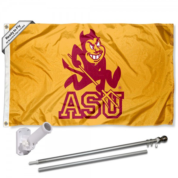 Our Arizona State Sun Devils Retro Gold Flag Pole and Bracket Kit includes the flag as shown and the recommended flagpole and flag bracket. The flag is made of polyester, has quad-stitched flyends, and the NCAA Licensed team logos are double sided screen printed. The flagpole and bracket are made of rust proof aluminum and includes all hardware so this kit is ready to install and fly.