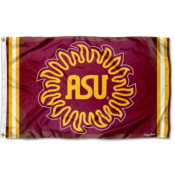Arizona State Sun Devils Throwback Vault Logo Flag measures 3x5 feet, is made of 100% polyester, offers quadruple stitched flyends, has two metal grommets, and offers screen printed NCAA team logos and insignias. Our Arizona State Sun Devils Throwback Vault Logo Flag is officially licensed by the selected university and NCAA.