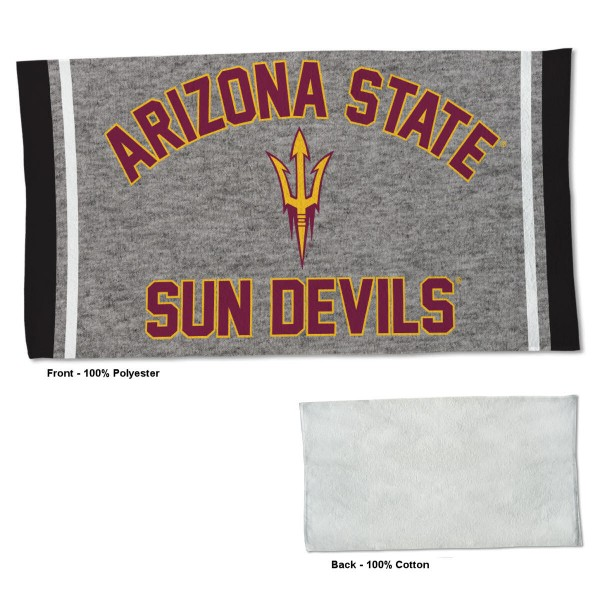 Arizona State Sun Devils Workout Exercise Towel measures 22x42 inches, is made of 100% Polyester on the front and 100% Cotton on the back, has double stitched sewing perimeter, and Graphics and Logos, as shown. Our Arizona State Sun Devils Workout Exercise Towel is officially licensed by the selected university and the NCAA. Also, machine washable and dryer safe.