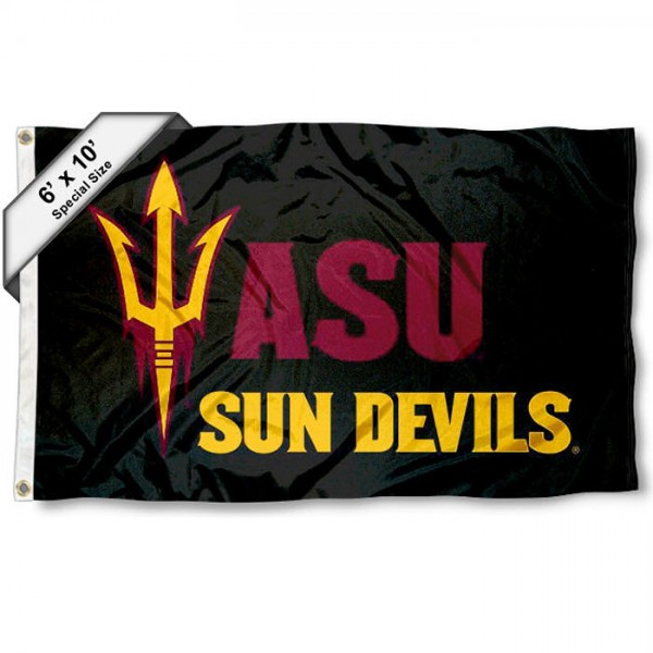 Arizona State University 6'x10' Flag measures 6x10 feet, is made of thick poly, has quadruple-stitched fly ends, and ASU Sun Devils logos are screen printed into the ASU Sun Devils 6'x10' Flag. This 6'x10' Flag is officially licensed by and the NCAA.