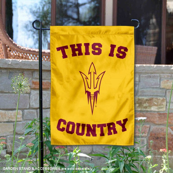 Arizona State University Country Garden Flag is 13x18 inches in size, is made of 2-layer polyester, screen printed university athletic logos and lettering, and is readable and viewable correctly on both sides. Available same day shipping, our Arizona State University Country Garden Flag is officially licensed and approved by the university and the NCAA.