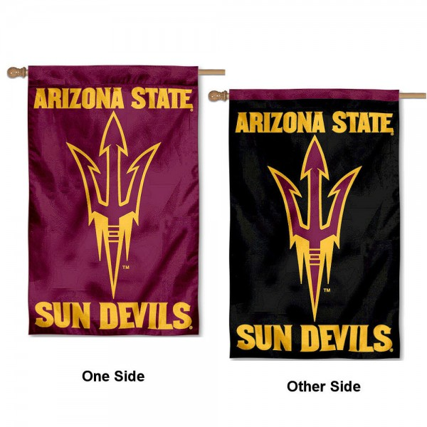 Arizona State University Double Logo House Flag is a vertical house flag which measures 30x48 inches, is made of 2 ply 100% polyester, offers dye sublimated NCAA team insignias, and has a top pole sleeve to hang vertically. Our Arizona State University Double Logo House Flag is officially licensed by the selected university and the NCAA.
