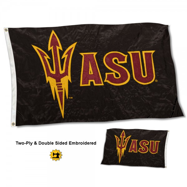 Arizona State University Flag measures 3'x5' in size, is made of 2 layer embroidered 100% nylon, has quadruple stitched fly ends for durability, and is viewable and readable correctly on both sides. Our Arizona State University Flag is officially licensed by the university, school, and the NCAA